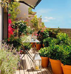 Terraza pequeña con mesa plegable de jardín de metal, macetas con plantas y farol con vela