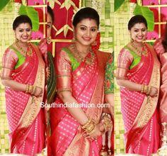 sneha prasanna kanjeevaram saree at sridevi vijaykumar baby shower 600x560 photo