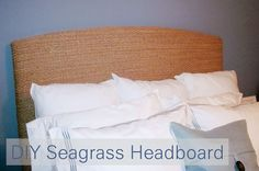 DIY Seagrass Headboard, my next project for sure! Seagrass Headboard, Seagrass Rug, Diy Headboards, Diy Home Crafts, Creative Home, Coastal Decor, Diy Furniture, Rustic Furniture, Furniture Design