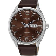 Seiko Recraft Series SNKN49 - Mens Silver & Brown Automatic Watch w/ Leather Strap found on Polyvore featuring polyvore, men's fashion, men's jewelry, men's watches, mens brown leather watches, mens leather strap watches, mens silver watches, mens watches and mens brown leather strap watches