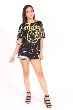 ccb28fd1497d Nirvana Smiley Face Tie Dye Distressed Oversized T-Shirt Dress Rock Band Tee