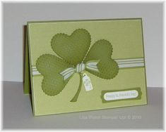St Patrick's Day Card.. Die: Embosslit Stampin' Up! Scalloped Heart of Hearts By:Lisa'sStampin'Weblog
