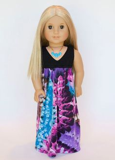 American girl doll Salina maxi dress  feather by EverydayDollwear, $19.00