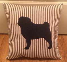 Pug silhouette on black/white ticking.