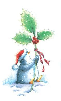 Image result for Christmas watercolor penguins