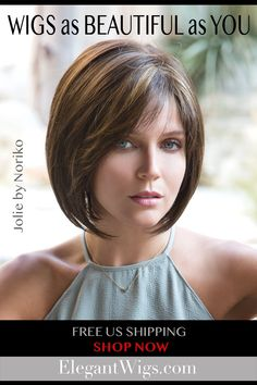 Quality wigs can be affordable. Get the latest, natural-looking wig styles. Jolie is a striking  above the shoulders, modern bob, perfectly layered with texture and volume. Color Shown: Kahlua-Blast | Cap Construction: Monofilament Top | Fiber: Synthetic | List Price: $349.00 | Our Price:$269.00 Cute Bob Haircuts, Asymmetrical Bob Haircuts, Stacked Bob Hairstyles, Hairstyles Haircuts, Short Layered Bob Haircuts, Bride Hairstyles, Bobs For Thin Hair, Wavy Bobs, Short Hair Cuts