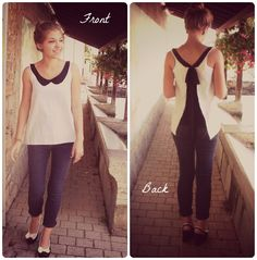 Tutorial: peter pan collar and open-back bow shirt   #easy #diy #black and white #cute