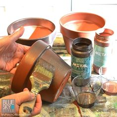 Using Metal Effects by Modern Masters to Patinate Garden Pots | Project by My Patch of Blue Sky