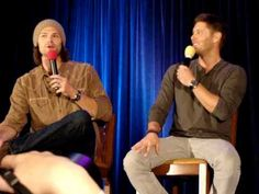 """""""Hey, MISHA!"""" One of my absolute favorite TorCon2012 vids. On how Jared and Jensen make Misha crack up on set. <3 #SupernaturalCast"""