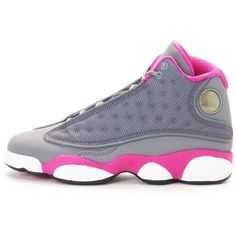 dd4a98576e4 Nike Girls Air Jordan 13 Retro (GS) 439358-029 Basketball Shoes Grey ($173)  ❤ liked on Polyvore featuring shoes, jordans and sneakers