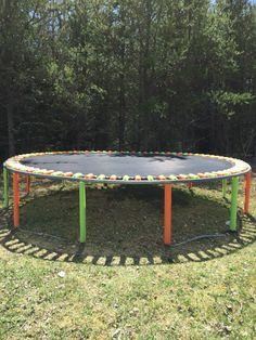 Pool noodles on trampoline