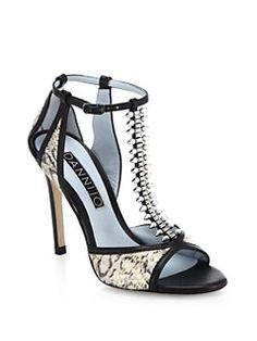 DANNIJO - Salma Crystal T-Strap Snake-Embossed Leather Sandals