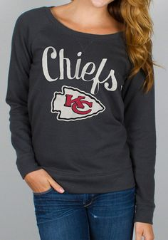 Kansas City Chiefs Womens Crew Sweatshirt - Black Chiefs Open Neck Long Sleeve Sweatshirt