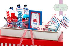 Soda Bar. www.thesweettreatco.com Dublin, Ireland. Blue And White Fabric, Red And Blue, Fabric Awning, Two Tier Cake, Ice Cream Cookies, Blue Color Schemes, Ice Cream Party, Food Labels, Party Signs