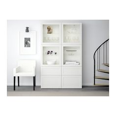 "BESTÅ Storage combination w/glass doors - Hanviken/Sindvik white clear glass, drawer runner, soft-closing, 47 1/4x15 3/4x75 5/8 "" - IKEA"