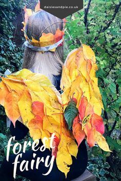 Totally brilliant autumn nature craft for kids, use fallen leaves to create amazing forest fairy wings and leaf crown #kidscraft #kidsautumncraft