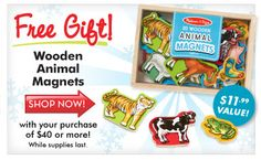 Free Gift with Purchase of $40 or more - Animal Magnets