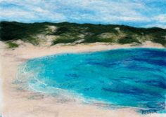 Hanson Bay, Kangaroo Island – Hand Felted Merino Wool Tops With Free Machine Embroidery And Hand Stitching Felt Pictures, Pictures To Paint, Bordado Popular, Felt Wall Hanging, Kangaroo Island, Needle Felting, Wet Felting, Beach Scenes, Felt Art