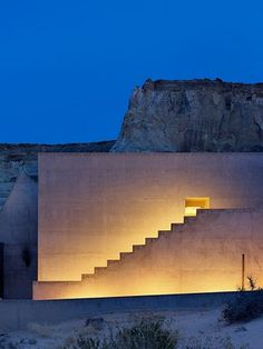 Lighted stone wall + stairs. Amangiri