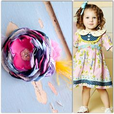 Made to match Matilda Jane Veranda Dress Pink, navy, lavender, baby blue large layered handmade satin rose headband