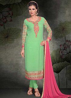 Vibrant Parrot Green Embroidery work Georgette Churidar Suit #Suits #Salwar   http://www.angelnx.com/Salwar-Kameez