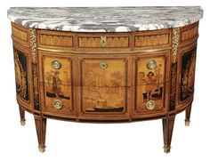 Brunk Auctions - Fine Paul Sormani Marquetry Inlaid Marble-Top Commode