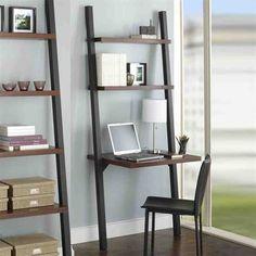 Ladder Shelf Desk, Leaning Ladder Shelf, Bookcase Desk, Desk Shelves, Modern Home Office Furniture, Home Office Decor, Home Decor, Crate And Barrel Desk, Rustic Home Offices