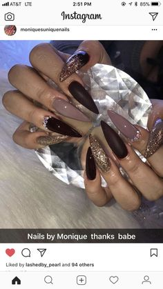 Stiletto nails in espresso with glitter accents. Sexy Nails, Glam Nails, Dope Nails, Bling Nails, Stiletto Nails, Beauty Nails, Coffin Nails, Fabulous Nails, Gorgeous Nails