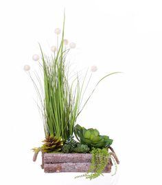 Kompozycja traw i sukulentów w drewnianej skrzyni