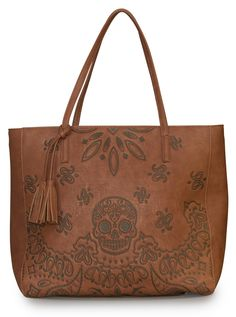 """Bandana+Skull""+Tote+by+Loungefly+(Brown)"