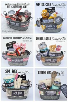 Gift in a Tin: Christmas Baking Kit DIY Gift Basket Ideas : for Spa Day , Coffee Lovers, Winter Christmas & Movie Night.)DIY Gift Basket Ideas : for Spa Day , Coffee Lovers, Winter Christmas & Movie Night. Creative Gifts, Cool Gifts, Cheap Gifts, Useful Gifts, Awesome Gifts, 10 Secret Santa Gifts, Work Secret Santa Ideas, Secret Santa Themes, Secret Santa Ideas Funny