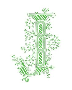 Hand drawn monogrammed print, 8x10, the Letter J, in the color green