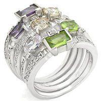 PR4162ZR - Prstene so zirkónmi multi prsteň, pestrofarebný, s farebnými zirkónmi. #supersperky #krasnesperky