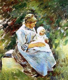 Mère et enfant, huile sur toile de Theodore Robinson (1852-1896, United States)