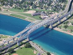 The Bluewater Bridge Across the St. Clair River, Connecting Sarnia, Ontario to Michigan