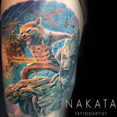 Rocket Racoon and Groot tattoo by Nakata! Limited availability at Revival Tattoo Studio.