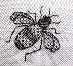 by sarahomfray. This lovely little bumble bee is worked in black stranded cotton on 28 count linen and is ideal for beginners or those new to the blackwork
