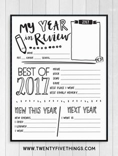 Use this free 2017 Year in Review printable sheet to help your kids reflect back on their year. This is a great family activity for New Year's Eve and it's always fun to see what the kids remember from the year. #KidsActivity #FreePrintable #2017