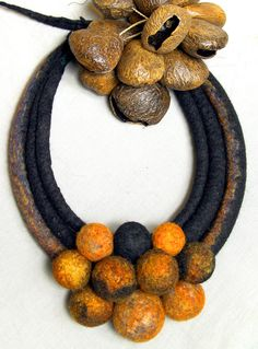Felted necklace,orange, yellow, red, black balls and dreads by Dahrana