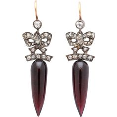 Pre-owned Antique Wine Red Garnet Eardrops ($5,800) ❤ liked on Polyvore featuring jewelry, earrings, chandelier earrings, antique jewelry, antique jewellery, bow earrings, preowned jewelry and victorian jewelry