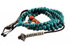 Turquoise prayer beads with mala counters, handmade prayer beads, prayer beads from Nepal, Buddhist beads