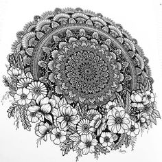 Mandala Flower Zentangle Design