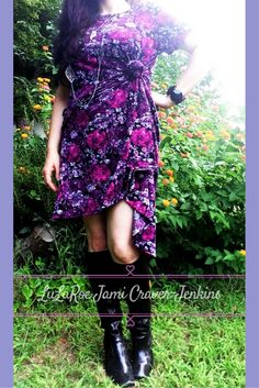 Floral LuLaRoe Carly Dress - knotted on side, with knee boots. <3 LuLaRoe…