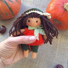 Crochet doll / Человечки ручной работы. Ярмарка Мастеров - ручная работа. Купить Тыковка, куколка в ладошку. Handmade. Кукла крючком, кукла купить