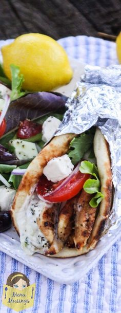 Yogurt Marinated Greek-Style Chicken Gyros - Simple, healthy, and delicious recipe that is flexible enough for a crazy evening when your family is getting home at all different times. Step-by-step photos! ♥