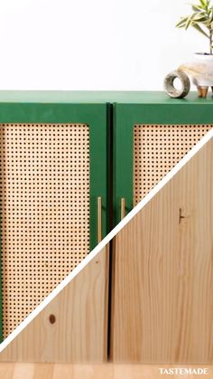 Upcycle an old Ikea cabinet with a splash of paint, fresh hardware, and cane. Ikea Furniture, Furniture Projects, Furniture Makeover, Home Projects, Ikea Cabinets, Diy Home Decor, Home Improvement, New Homes, House Design