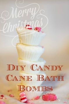DIY Candy Cane bath bombs easy recipe that makes a perfect homemade gift for Christmas