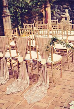 Neutral Wedding Color Palette Ideas: Metallic Ceremony Chairs | Brides.com