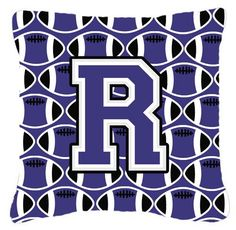 Letter R Football Purple and White Fabric Decorative Pillow CJ1068-RPW1414