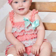 Romper Set,Lace Petti Romper,Coral and Aqua Petti Romper,Baby Girl Toddler Photo…